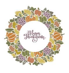 autumn thanksgiving harvest decorative frame vector image