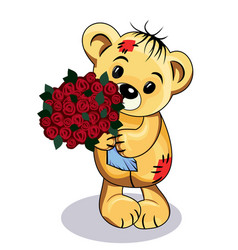 bear with flowers vector image