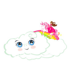 Beautiful princess on a unicorn flying on a vector