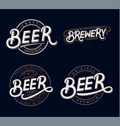 Beer and brewery hand written lettering logos vector