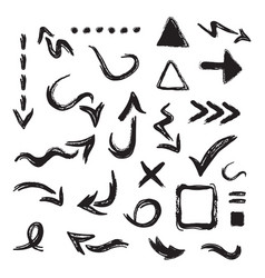 Black hand drawn curvy direction arrows icons set vector