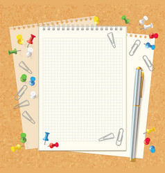 Blank spiral notebook on cork board vector