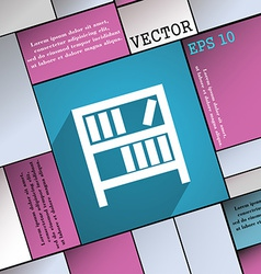 Bookshelf icon symbol Flat modern web design with vector