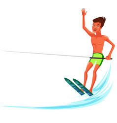 brunette tanned man waterskiing in beautiful ocean vector image