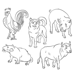 bull cock dog pig rat vector image