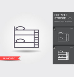 bunk bed line icon with editable stroke with vector image