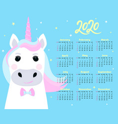 calendar for 2020 from sunday to saturday cute vector image