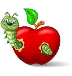 Caterpillar eat the apple vector image