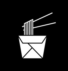 chinese take out dark mode glyph icon vector image