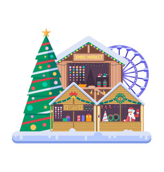 christmas market wooden stalls on xmas fair vector image