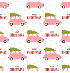 christmas seamless pattern with car vector image