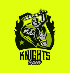 colorful emblem logo badge of a knight riding on vector image