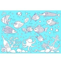 Coloring of underwater world Aquarium with fish vector