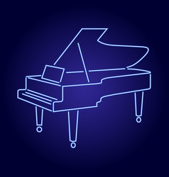 contour grand piano from blue neon glowing lines vector image