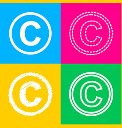 Copyright sign four styles of icon vector