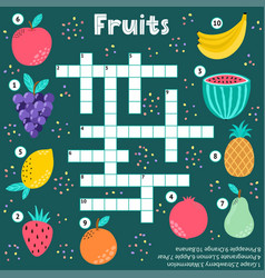crossword puzzle game fruits for kids vector image