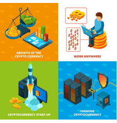 cryptocurrency mining electronic money blockchain vector image