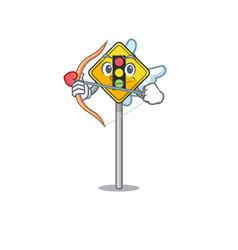 Cupid traffic light ahead on cartoon vector