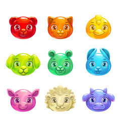 Cute cartoon colorful jelly animals faces vector