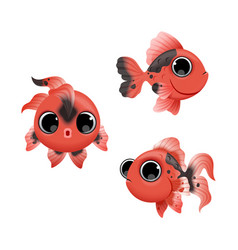 cute cartoon golden fishes set isolated on white vector image