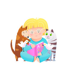 Cute child girl read book to cat and dog friends vector