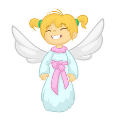 cute happy christmas girl angel character vector image