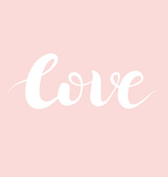 cute typography on pink with hand drawn word love vector image