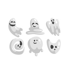 Cute white ghost cartoon character set funny vector