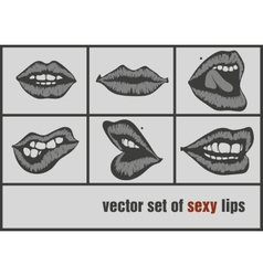 Dark paper lips vector