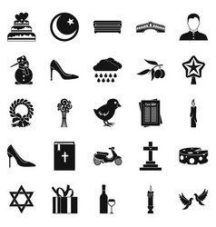 Divine service icons set simple style vector