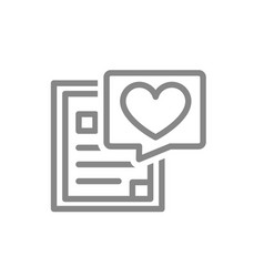 Document with heart line icon donation form chat vector