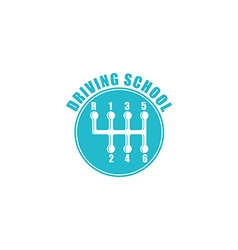 Driving school logo six gearshift knob blue emblem vector image