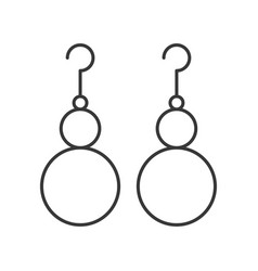 Drop pearl earrings jewelry set outline icon vector