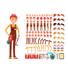 Female technician cartoon character woman vector