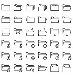 File and folder icon set line style vector