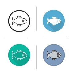 Fish flat design linear and color icons set vector