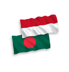 Flags indonesia and bangladesh on a white vector