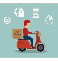Free delivery boy driver motr bike set icon vector
