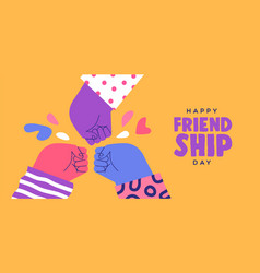 Friendship day banner friend group fist bump vector