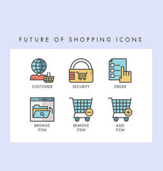 Future of shopping icons vector