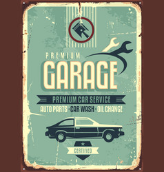 Garage vintage tin sign vector