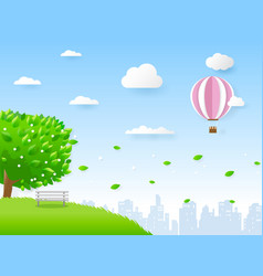 green city in paper art style vector image