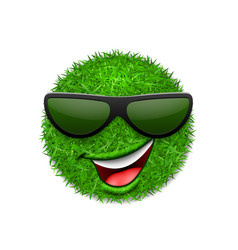 green grass field 3d face wink smile with vector image