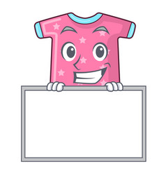 Grinning with board character baby clothes hanging vector