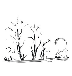 hand drawn with trees cartoon vector image