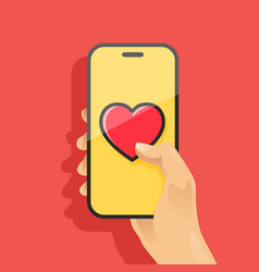hand holding smartphone and send heart vector image