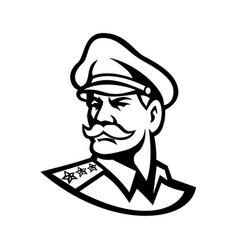 Head an american three-star general mascot vector
