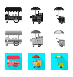 Isolated object of market and exterior symbol set vector