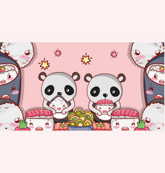 Kawaii animals and japanese food vector