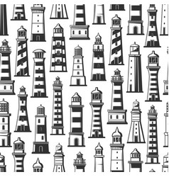 Lighthouses in seamless pattern monochrome vector